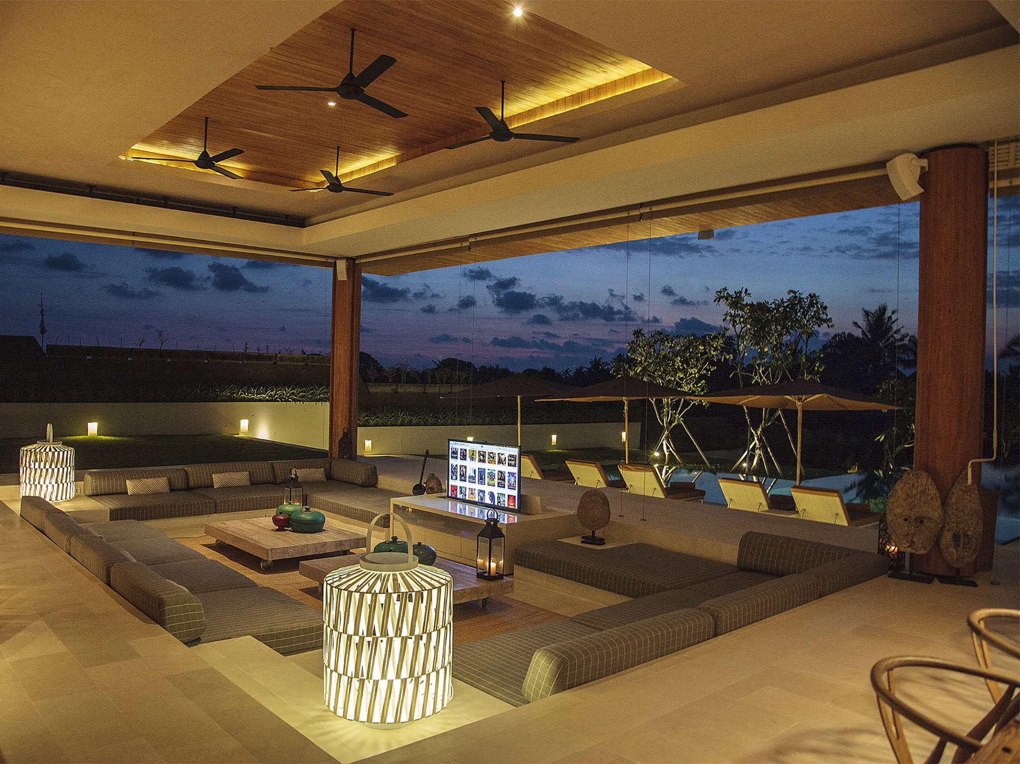 The Iman Villa - Living area at night - The Iman Villa, Canggu, Bali