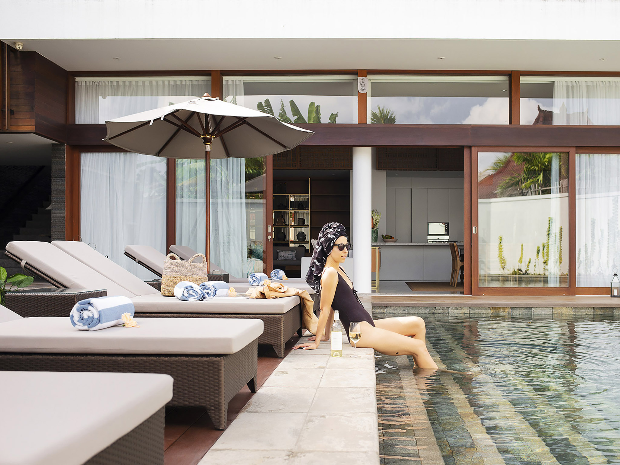 Villa Indrani - Sunloungers and the pool - Villa Indrani, Canggu, Bali