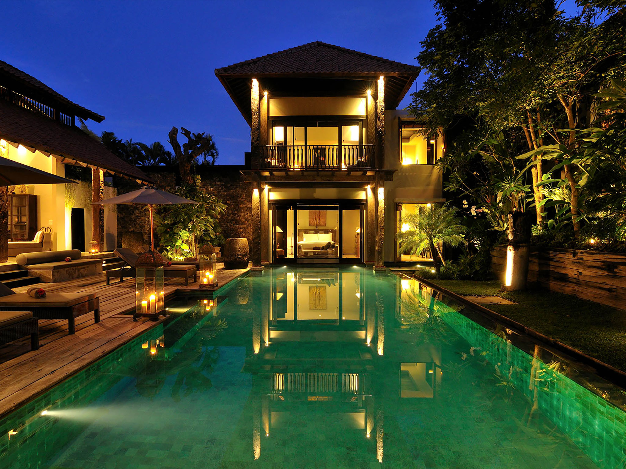 Villa DeSuma - Night time view across the pool - Villa De Suma, Seminyak, Bali