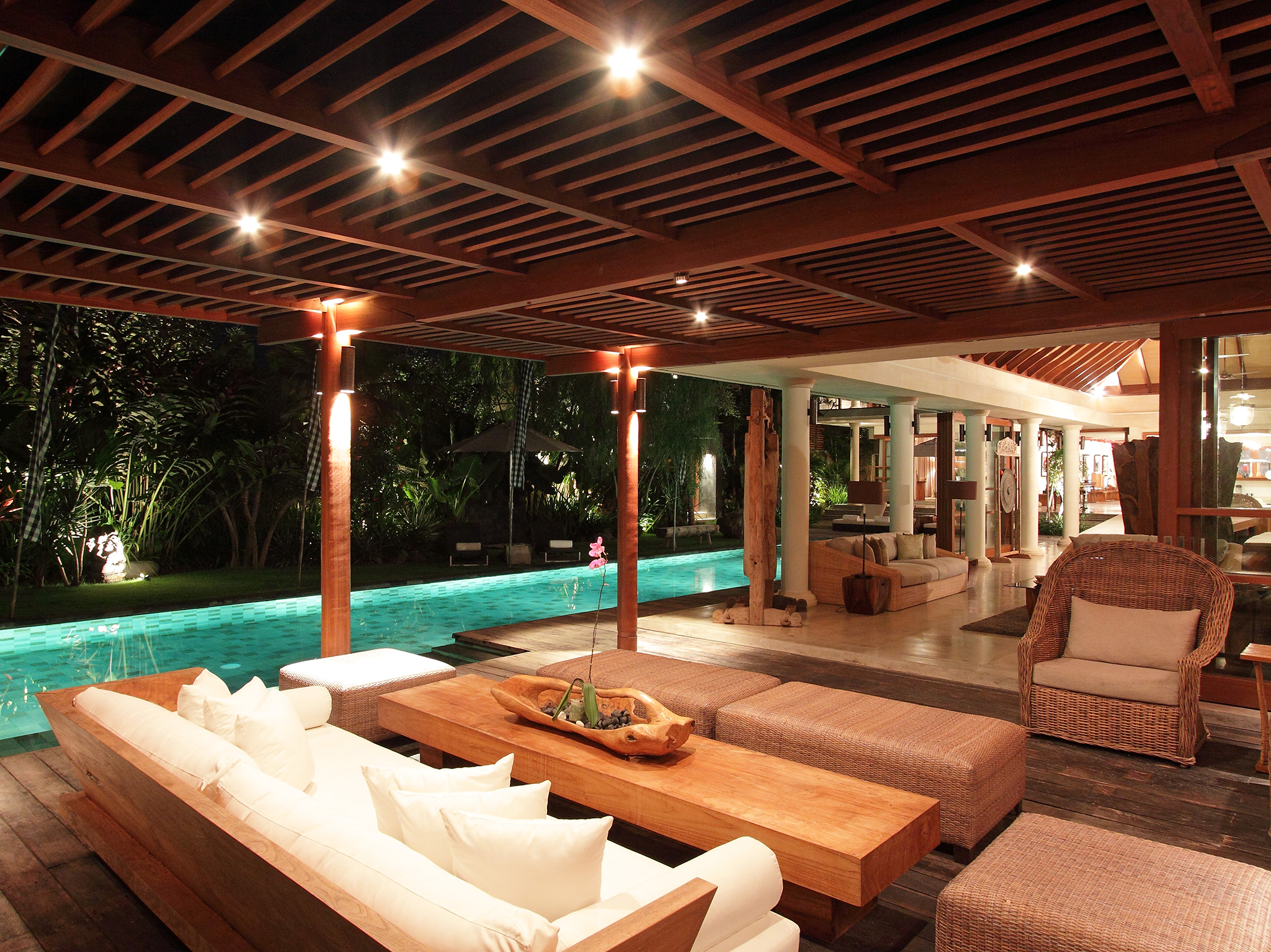 17. Villa Sarasvati - Main living area at night - Dea Villas - Villa Sarasvati, ,