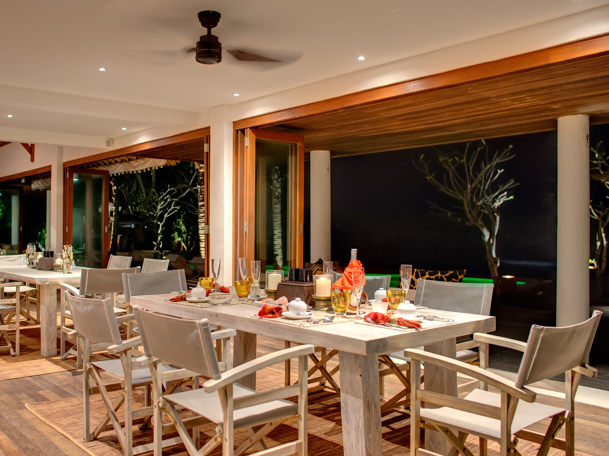 Villa Voyage - Dining room at night - Villa Voyage, Nusa Lembongan, Bali